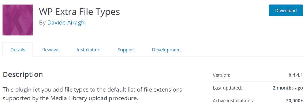 WP Extra File Types Upload Plugin