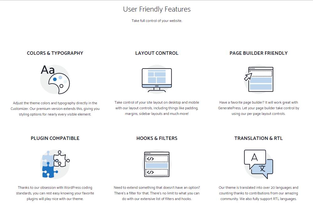 GeneratePress Key features
