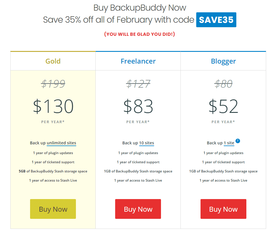 backup buddy pricing