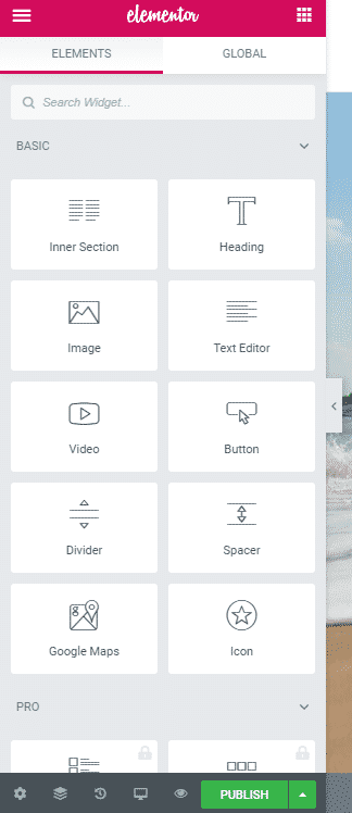 Elementr interface